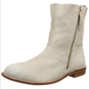 Distressed Cream Cow Suede Tall Western Boot